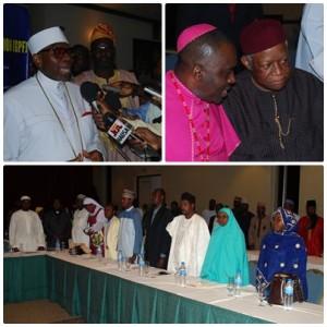 左上:ナイジェリアキリスト教協会会長のアヨ・オリステジャフォー師 右:ナイジェリア異宗教間アクション協会会長のサンデー・オヌオハ師と元ナイジェリア外務大臣のアイク・ンワンチュクウ上院議員 下:女性と若者の指導者が諮問会議に提案