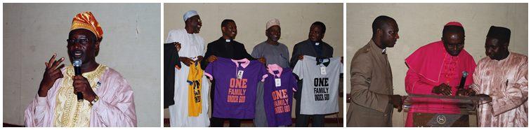 左:ケン・ファショラ博士はGPFナイジェリアを代表して参加者に感謝を表明 中央:キリスト教とイスラム教の指導者たちは、宗教指導者とナイジェリアの伝統的統治者の間でGPFの「One Family Under God」の理念を拡げるることを期待 右:ジョンジョセフ・ハヤブ牧師(左)とハーリル・マラヤ伝統的統治者(右)が共同司会として協議会が開催。両氏は宗教的問題を専門とするカドゥナ州知事の特別顧問。サンデー・オヌオア師・ナイジェリア異宗教間活動協会(NIFAA)の会長(中央)が本会議をサポート
