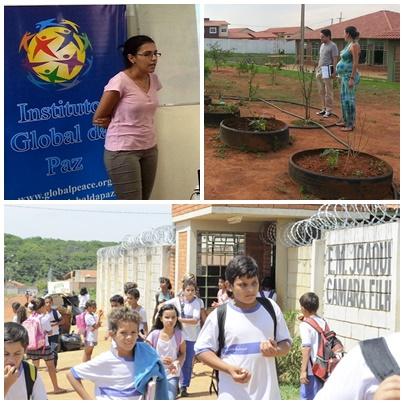 左上:国際学生組織AIESECでGPFをプレゼンテーション;右上:GECCプログラムのプロジェクトの現場;下:ジョアキム・カマラ・フィリオ学校の生徒