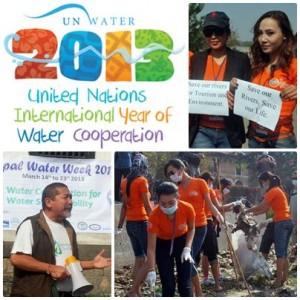 ミスネパール出場者が、奉仕活動を通じてネパール水週間2013を支援しています。ネパール川保全信託の創設者兼社長メグ・エール氏(写真左下)は、ボランティアたちに語り掛けています。
