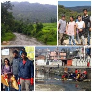 ネパール水週間の参加者は、その自然のままの水源(写真上)付近の聖なるバグマティ川沿いとカトマンズで非常に汚染された川のほとりでハイキングをした。