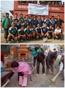 上:サッカーの試合を通じて、水の保全の重要性をアピールしています。 下:ネパール水週間2013の一環として、カトマンズでバドラカリ寺の境内を清掃しています。