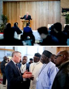 (上)ジム・フリンG P F国際会長による歓迎の辞 (下)デクラン・カーニー次官とナイジェリアからの参加者